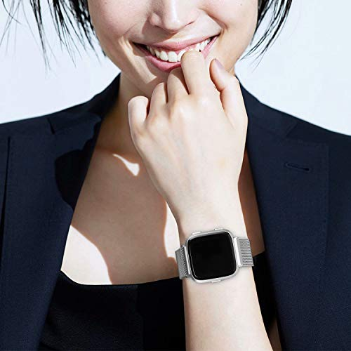 Qunbor Cinturino Compatibile con Fitbit Versa/Versa Lite/Versa 2 Special Edition per Donna Uomo, Cinturini di Ricambio in Metallo, Bracciale per Fitbit Versa Smartwatch Piccoli Grande (Argento S)