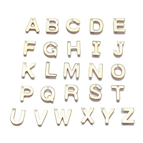 Ornaland 26 unids/Set de Colgante de Letras Doradas, Juego de Letras A ~ Z, Colgante de Letra Inglesa, Pulsera, Collar, Joyería Hecha A Mano