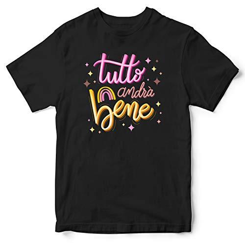 Publiassia Stamperia Andrà Tutto Bene T- Shirt 8N Idea Regalo Maglia Maglietta Autocertificazione Covid 19 Coronavirus pandemia Quarantena 2020#Andràtuttobene #Restiamoacasa (XXL)