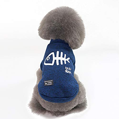 WANXIANG Dog Coats with Fish Bone Pattern,Soft and Warm,Stylish Dog Jackets for Small Dogs,Cats,Puppy Pets,Yorkshire,Teddy,Bichon,French Bulldog,Schnauzer,etc (Blue, XL)