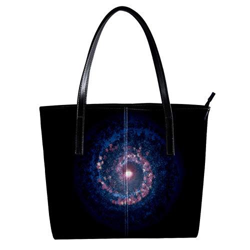 Indimization Handtaschen für Frauen, Damen-Handtasche aus Mikrofaser-Leder, großes Fassungsvermögen, Schultertasche für Damen, Galaxy Vortex, 39,9 x 29 x 8,9 cm