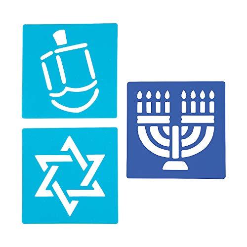 Fun Express - Hanukkah Stencil Set for Hanukkah - Stationery - Office Supplies - Classroom Supplies - Hanukkah - 12 Pieces
