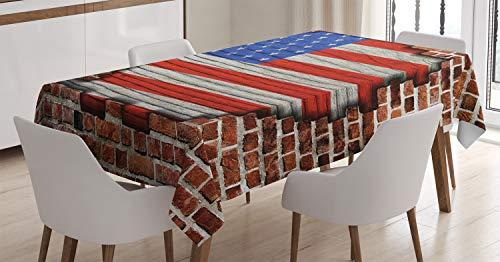 ABAKUHAUS Vereinigte Staaten von Amerika Tischdecke, Amerikanische Nationalflagge, Für den Inn & Outdoor Bereich geeignet Waschbar Druck Klar Kein Verblassen, 140 x 240 cm, Braun Blau Rot