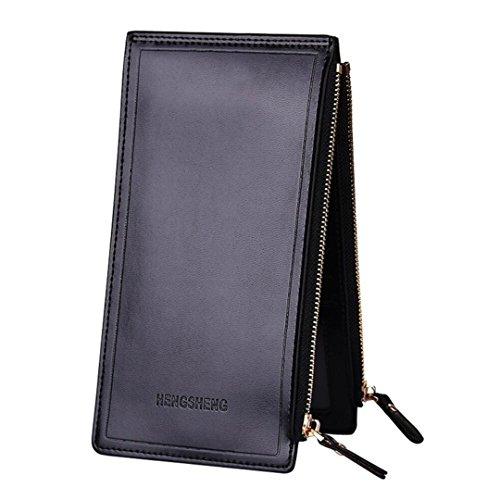 Coolstar Damen Portemonnaie (1039), Leder, faltbar, mit Reißverschlussfach, für Handy, Schwarz