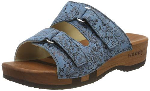 Woody Damen Melina Pantoletten, Blau (Capri 084), 37 EU