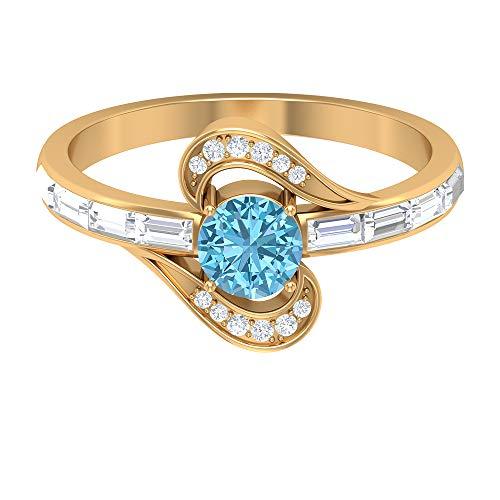 Anillo de compromiso de aguamarina, piedras preciosas redondas de 0,96 quilates, anillo de promesa solitario de diamante HI-SI de 5 mm, anillo de diamante baguette, 14K Oro amarillo, Size:EU 46