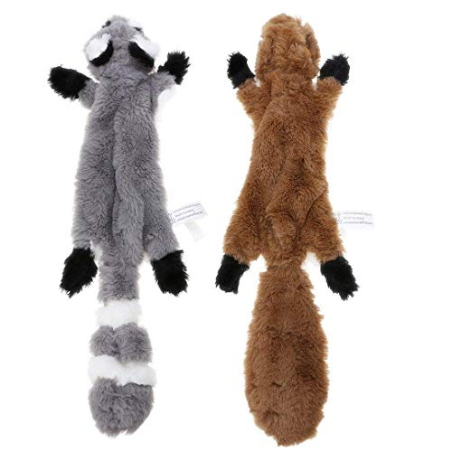 PDTO No Stuffing Dog Toy, 2 Pack Squirrel Raccoon Squeaky Plush Dog Toy, Stuffingless Dog Chew Toy for Small Medium Dogs - 45cm
