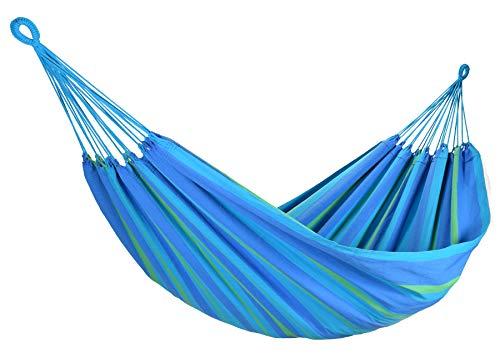 Amalyssa - Hamac Brésilien : Carnaval Curaçao - Coton Bio - Bleu, Turquoise & Vert - Toile Résistante - Confort & Solidité - Séchage Rapide - Lavable 30° - Fabrication Artisanale