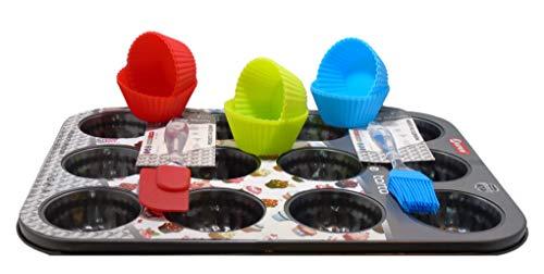 Pack De Repostería » 1 Molde Cupcakes + 12 Moldes Para Cupcakes, Muffins, Magdalenas + 1 Pincel de Silicona + 1 Espátula de Silicona