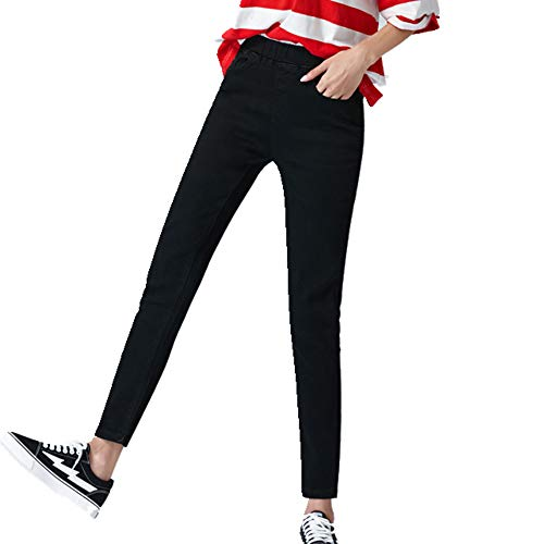 N\P Las Mujeres De Luz Azul Cintura Elástica Jeans Slim Stretch Algodón Azul Marino Mamá Pantalones Negro Jean Pantalones Mujer
