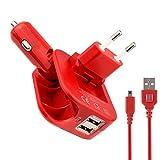 Exlene® 3DS faltbare Reise Ladegerät 2-in-1 Dual Port USB Auto Ladegerät und Hauptwand Wechselstrom-Ladegerät für Nintendo 3DS, 3DS XL, 2DS, DSi, DSi XL,(mit Geschenk: 1.2M rot 3DS USB Kabel)(rot)