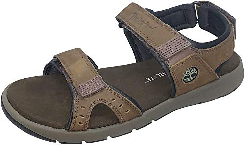 Timberland Governor's Island Men's Leather Strap Sandal (Dark Brown Nubuck, 9)