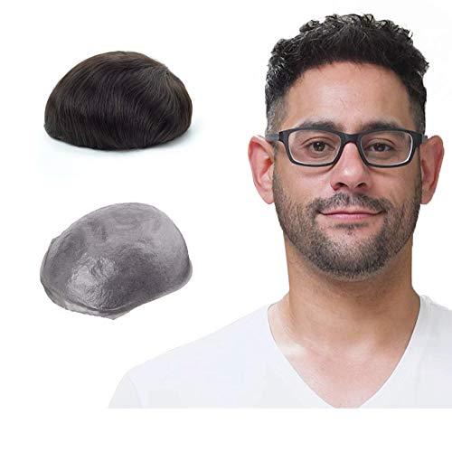 Lordhair Peluca Hombre 0.06MM Skin Rayita Frontal Todos V-Loop Nudos pelucas de cabello real Natural Humano Peluquin Hombre Tamaño de la Base 20x25CM Densidad Media Peluquines Para Hombres