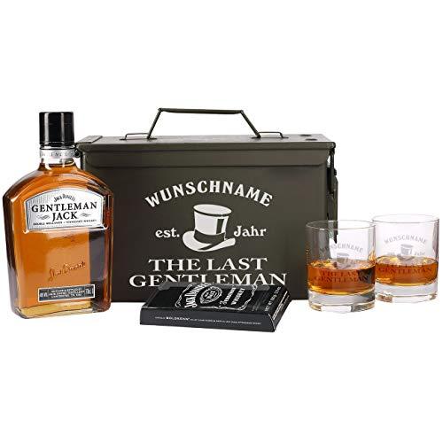 Herz & Heim® 5-tlg Whiskey Set 2 Gläsern mit Gravur, Gentleman Jack + Orginal Munitionskiste mit Aufdruck Männergeschenk