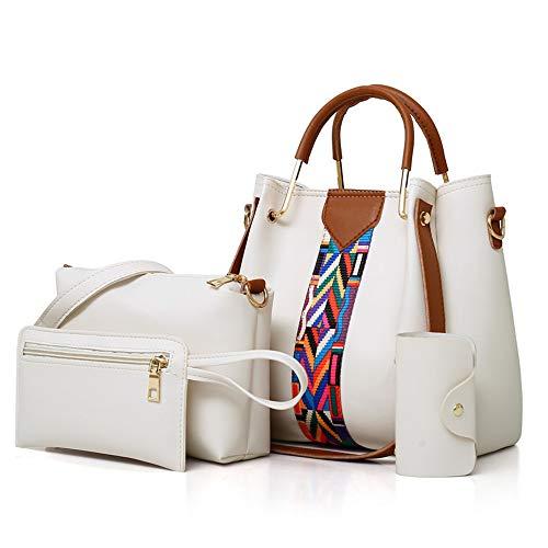 AlwaySky Frauen-Handtaschen-Set 4 in 1 Soft-PU-Leder Top Griff Tasche, Tragetasche, Schultertasche Crossbody Beutel-Geldbeutel-Set (weiß)