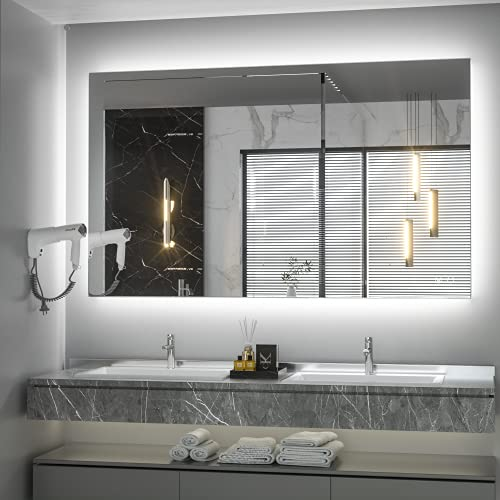 Keonjinn 40 x 24 Inch LED Bathroom Mirror with Lights Anti Fog Backlit LED Vanity Mirror Wall Mounted Lighted Bathroom Mirror IP54 Waterproof CRI90 Dimmable Makeup Mirror for Wall(Horizontal/Vertical)