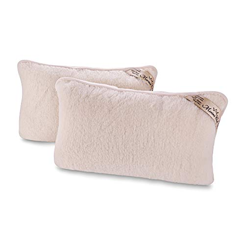 Juego de 2 fundas de almohada 100% lana de cordero merino, 45/75 cm, color natural