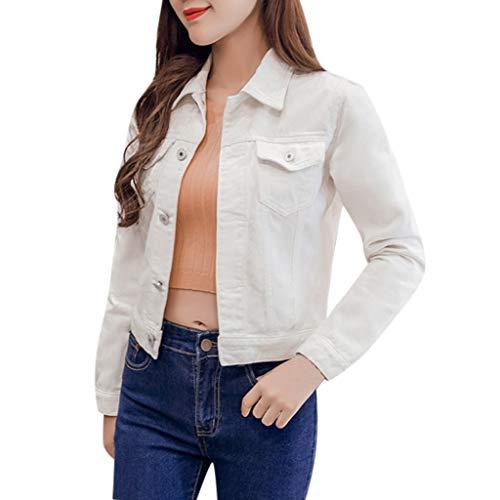 Mujer Casual Chaqueta Vaquera Slim Fit Cazadora De Denim Jeans Abrigos Manga Larga STRIR (XXL, Blanco)