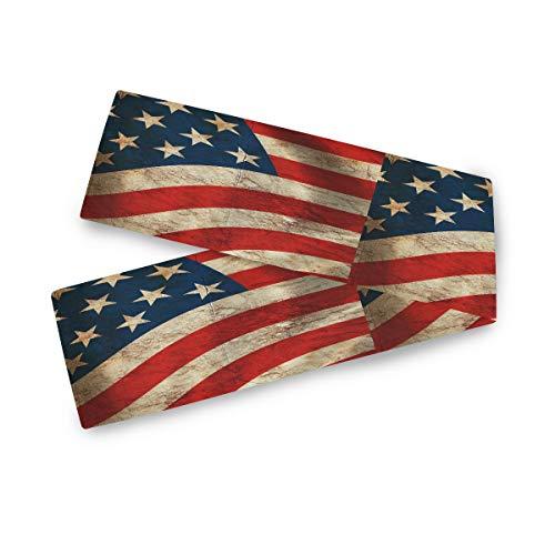 AUUXVA BIGJOKE Tischläufer Amerikanische Flagge USA Druck Tischdecke Abdeckung Polyester Dekor für Esszimmer Party Urlaub Dekoration Küche Hochzeit 33 x 177,8 cm