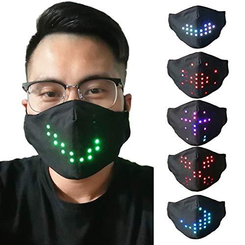 LCAZ LED luminosa inteligente controle de voz, iluminação de Halloween, cosplay, festa, máscara facial recarregável para festa de Halloween, festa de música, festival, carnaval (unissex)