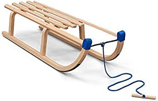Vispronet Children's Wooden Sled – Solid Wood Seat with Water-Based Protective Lacquer – Frame Made from Environmentally Friendly Laminated Beech Wood – Holds Up to 200lbs