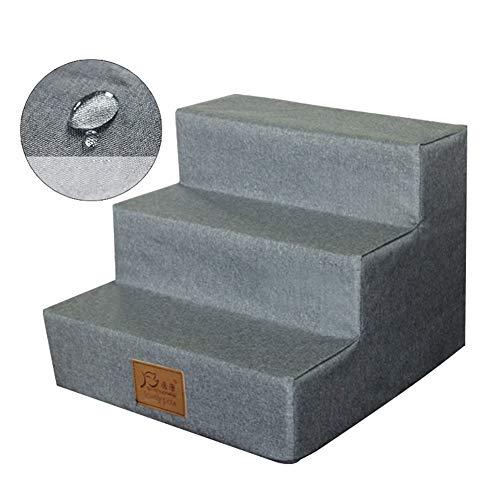 Escaliers pour Chiens Escaliers Pet Étanche avec Mousse pour Chiens Chats, Non-Slip Comfort 3 Étapes pour Ladder Lit Grand/Canapé, Gris Couverture Lavable (Size : 3 steps-40×38×30cm)
