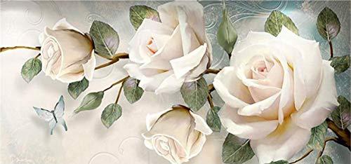 ParNarZar 5D Adulto o niño DIY Kit de Pintura de Diamante Resina Redonda Bordado de Cristal Manualidades Suministros de Pared 35 × 75 cm Flores Blancas