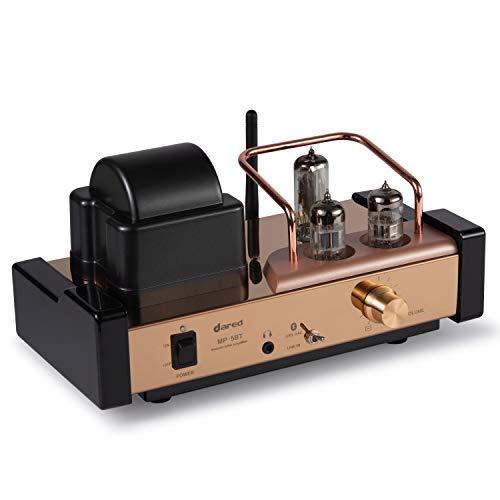 Dared MP-5BT un amplificador integrado de tubo de vacío estéreo, amplificador híbrido, conexión Bluetooth, entrada USB/DAC, salida de auriculares, pre salida, 25 Wx2, con tubos 6N11, 6N21, 6E21