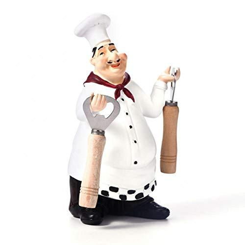 Wilecolly Decoración de Cocina de Chef, Estatua de Chef Bonita, Adornos de estatuilla, decoración Vintage para el hogar, Cocina, Restaurante, artesanía de Resina(2)