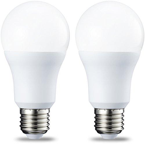 AmazonBasics Bombilla LED Esférica E27, 10.5W (equivalente a 75W), Blanco Cálido - 2 unidades