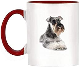 11 Ounces Coffee Mug, Coffee Mug Schnauzer Image Design Two Tone Ceramic Mug with Red Handle and Inner 11Oz Ceramics