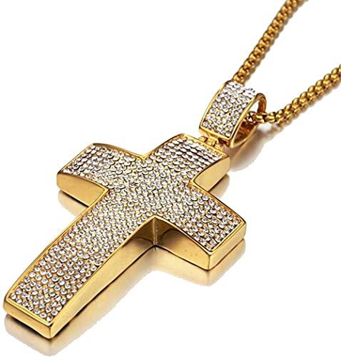 NC198 Hip Hop Iced out Bling Big Jesus Cross Collares Pendientes Cadenas religiosas de Acero Inoxidable para Hombre Joyería Hiphop 50cm