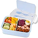 Lunchbox 1400ml Brotdose Kinder mit 3 Fächer und Besteck, Tragbar Lunchbox Erwachsene BPA-Frei Bento Box zum Schule / Büro / Picknickreisen, Anzug für Mikrowellenheizung & Geschirrspülmaschine