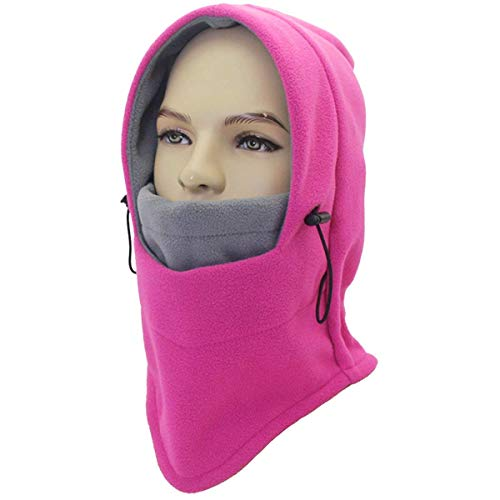 Miracu Heavyweight Balaclava Windproof Ski Face Mask, Women and Men Soft Fleece Winter Hat/Hood for Outdoor Sports, One-Size, Rose Red