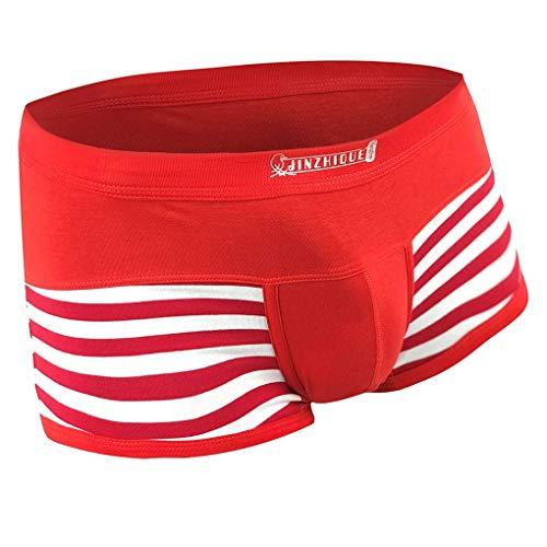 Skxinn Boxer Boxershorts Herren Unterwäsche sportliche Retro Pants Mode Streifenmuster Atmungsaktiv Bequem Shorts Unterhosen Sexy Briefs Underwear M-3XL(Rot,XXX-Large)