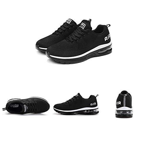 Zapatillas de Deporte Hombre Mujer Running Bambas Ligero Zapatos para Correr Respirable Calzado Deportivo Andar Crossfit Sneakers Gimnasio Moda Casuales Fitness Outdoor Blackwhite01 40