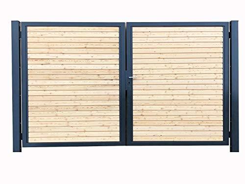 Einfahrtstor Premium Garten-Tor 2-Flügeltor 400x180cm RAL 7016 Anthrazit Holz Symmetrisch