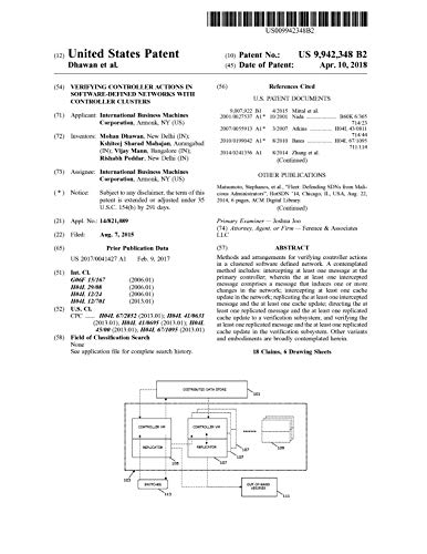 Verifying controller actions in software-defined networks with controller clusters: United States Patent 9942348 (English Edition)