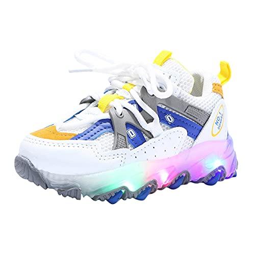 Dinnesis Zapatillas de bebé para niños, niñas, jóvenes, zapatillas de deporte brillantes, con luz LED, antideslizantes, de piel suave, azul, 25 EU