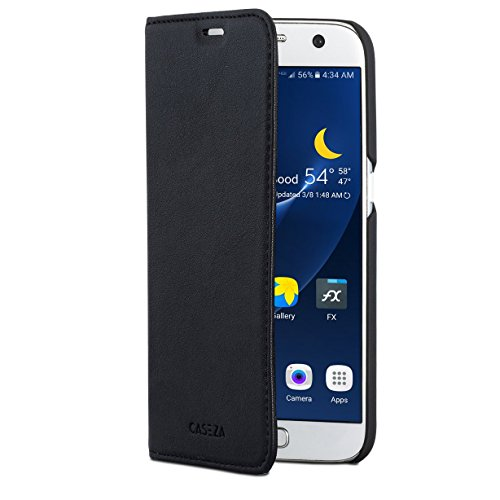 CASEZA Samsung Galaxy S7 Kunstleder Flip Hülle Oslo Schwarz - Ultra schlanke PU Leder Hülle Ledertasche Lederhülle für das Original Samsung Galaxy S7 - Edles Cover mit Magnetverschluss