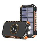 Hiluckey Cargador Solar 26800mAh Power Bank Portátil Inalámbrico con 4 Outputs Power Bank con USB C Carga Rápida para Smartphones, Tablets