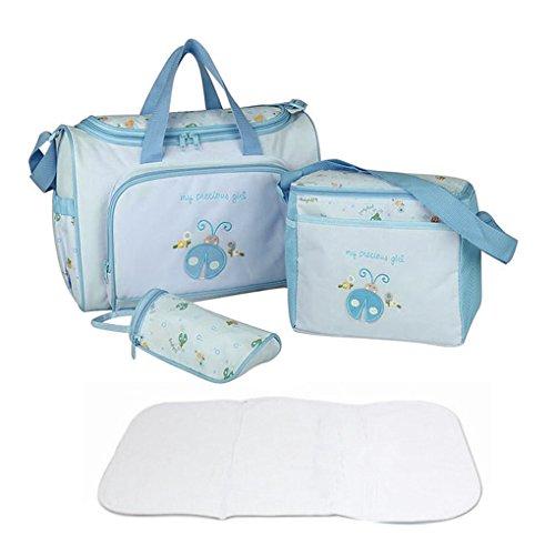 FakeFace Oxford Gewebe Cartoon 4er-Set Babytasche Wickeltasche Mutter Windeltasche Handtasche Schultertasche Flaschenhalter (Blau Marienkäfer)