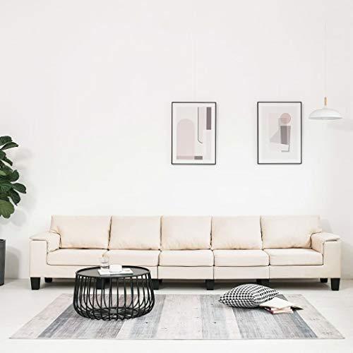UnfadeMemory Sofá de Salon,Decoración de Hogar Habitación o Oficina,Conciso y Moderno,Tapicería de Tela,Patas de Plástico,Crema (Crema, 5 plazas-310x70x75cm)