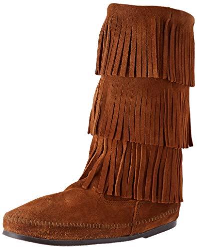 Best Price Minnetonka Women's 3 Layer Fringe Boot,Brown,8 M