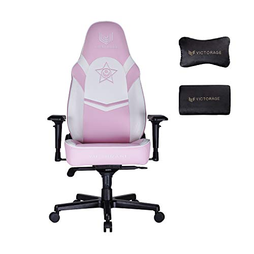 VICTORAGE Computer Gaming Chair Ergonomic Office Chair with Lumbar Support Adjustable Stool Swivel Rolling Home Chair - Rocking Function(Pink)