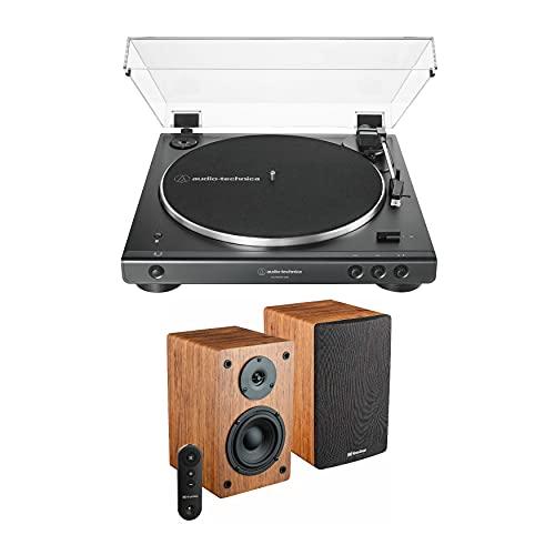 Audio-Technica AT-LP60X-USB Bluetooth Turntable (Black) and Knox Gear LP1 Bookshelf Bluetooth Speaker Bundle (2 Items)