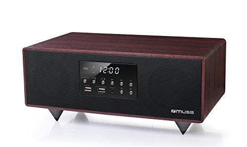 Muse M-630 DWT Bluetooth Lautsprecher mit Fernbedienung, USB, NFC, dimmbarem Display, AUX-In, 40W holz