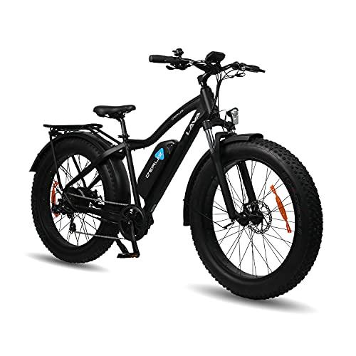 DERUIZ Lava Bicicletas eléctricas para Adulto, Fat Tire Bike de 26 Pulgadas Bici Todo Terreno, Bicicleta de Montaña con 48V 624Wh Batería de Litio extraíble(Negro)