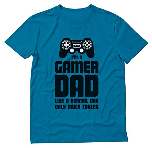 Gamer Dad Shirt Funny Gift for Fathers Cool Dad's Gaming T-Shirt Large Aqua