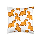 Zone - 365 Chicken Nuggets Lover Gift Cute Dino T-Rex Chicken Nugget Pattern Funny Tyrannosaurus Throw Pillow, 16x16, Multicolor